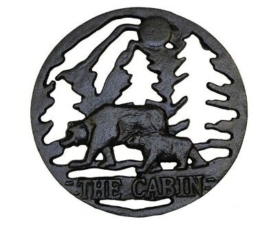The Cabin Rustic Cast Iron Black Bears In The Woods Trivet Counter Top Wall Hang