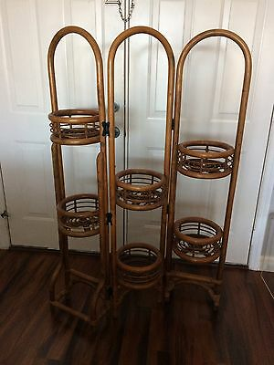 Vintage Rare Bamboo Folding Multi Plant Holder Pot Stand Boho Chic