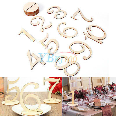 Wooden Table Number 1-10 Set With Holder Base Wedding Birthday Party Place Cards