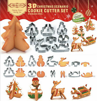 3D Christmas Cookies Cutter Mold Decorating Biscuit Pastry Baking Mould PARTY