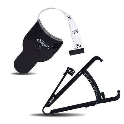 Personal Body Fat Tester Calipers + Tape Measure and Fat Charts Fitness Measure