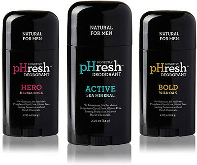 Natural Deodorant for Men, HONESTLY PHRESH, 2.25 oz Hero Herbal Spice