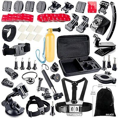 BAXIA TECHNOLOGY Accessories for GoPro HERO 4 3+ 3 2 Black Silver, Accessory Kit