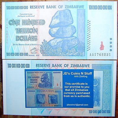 Zimbabwe 100 Trillion Dollars | Coa Included | Uncirculated | 2008 Aa