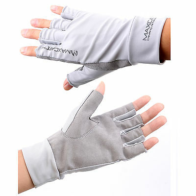 1 Pair Sun Protective Gloves Size L Fly Fishing Anti-UV Fingerless Breathable
