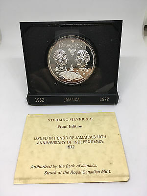 1972 Jamaica Silver 10th Anniversary of Independence 10 Dollars Case & COA