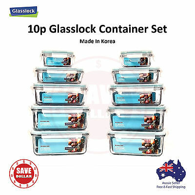 Glasslock 10p set Tempered Glass Food Container Storage Microwave Safe BPA FREE
