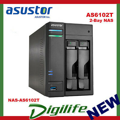 ASUSTOR AS6102T 2-Bay NAS, Dual-Core, 2GB DDR3L, GbE, USB 3.0, eSATA, HDMI, WoL