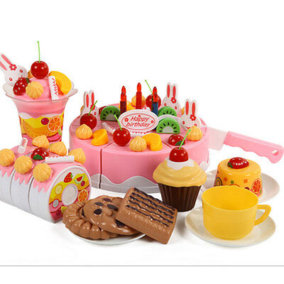 75Pcs/Set Plastic Kitchen Birthday Cake Toy Pretend Play Food Gift For Children