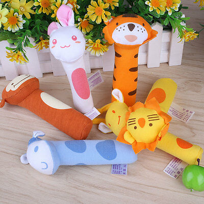 Newborn Baby Toy Soft Animal Handbells Plush Rattles Squeeze Me Rattle Cute
