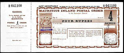 Mauritius Postal Order. Four Rupees. Poundage 50c,  long bar over 15c.