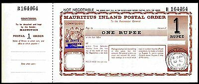 Mauritius Postal Order. One Rupee. Poundage 50c,  bars over 15c & 20c.