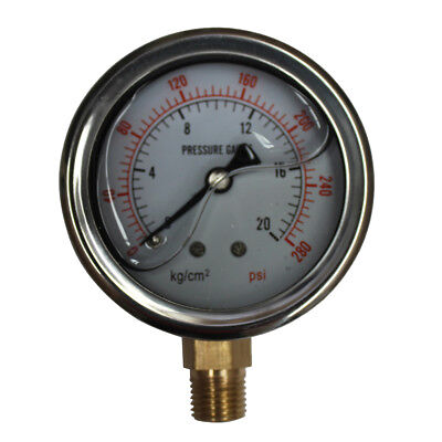 "300 PSI Pressure Gauge 20Bar Liquid Fille G1/4"" Dia 63mm 2.5"" Stainless 94049010"