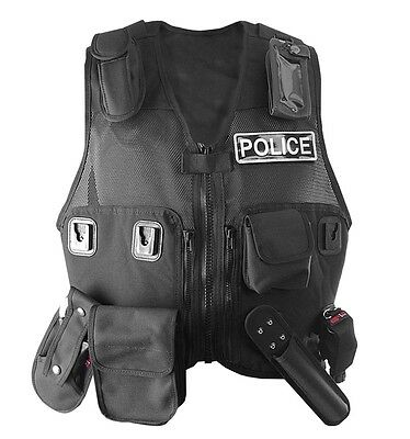 Black Tactical Skeleton Vest Rig for Police Officers PCSO Security Constable 999