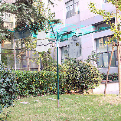 4 Arm 40M Rotary Outdoor Laundry Washing Line Airer Clothes Dryer +Cover & Spike