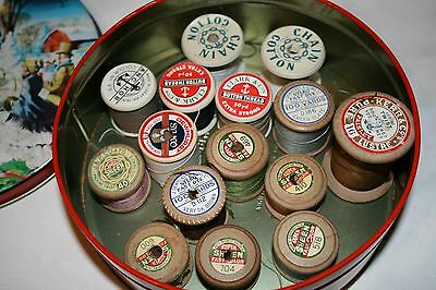 12x Vintage Wooden Sewing Cotton Bobbins In Vintage Tin Threads Sew Sylko Sewing