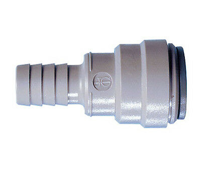 "Metric John Guest, Push fit Tube To Hose Connector 15mm Tube OD x 1/2"" Hose ID"