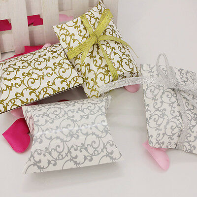 50/100X Pillow Shape Printing favor Gift Box Candy Decor Box Wedding Party Cake