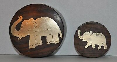 VINTAGE Round Wooden Boxes BRASS ELEPHANT INDIA Small Jewelry Box Wood UNIQUE