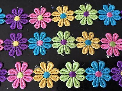 25mm Multi Coloured Daisy Flower Lace Trim Braid Sewing Doll Art Craft Trimming