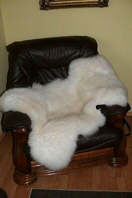 100% Real Natural Sheepskin Large White Rug Soft Natural Length: 75-125 cm