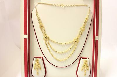 22ct/916 sparkling indian gold necklace set with matching earrings *Boxed*