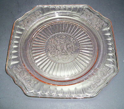 "Depression by Hocking Glass Mayfair Pink Open Rose 8 1/2"" Luncheon Plate"