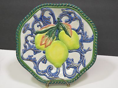 """FITZ FLOYD Classics Florentine Canape Fruit Lemons Wall Lunch Plate 9"""" Retired"""