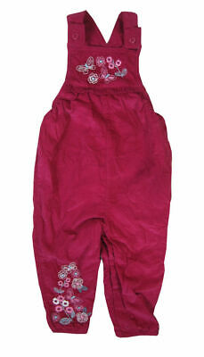 Baby Girl 100% cotton Pink Embroidered Corduroy Dungarees 0 3 6 9 12 18 24 m