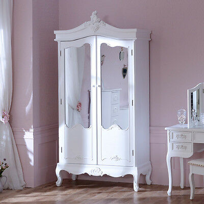 Antique white mirrored double wardrobe bedroom furniture shabby french chic
