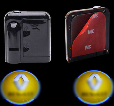 2x Wireless Courtesy Car LED door Projector Logo ghost shadow light for Renault