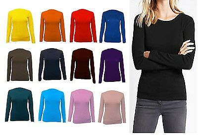 New Womens Long Sleeve Round Neck Plain Basic Ladies Stretch T-Shirt Top Rnck