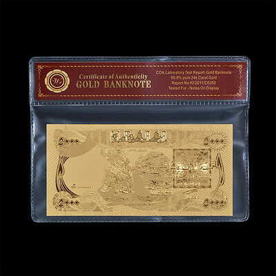 WR Five Thousand 5000 Iraqi Dinars 24kt Gold Foil Banknote Central Bank of Iraq