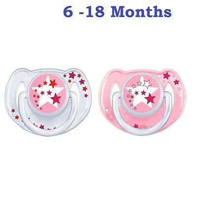 Baby Soother 6-18 Months Silicone Teat Pacifier Night Glow Avent Dummy Pack of 2