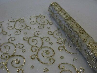 1 rouleau organza arabesque paillettes or 28 cm x 5 m. Chemin de table