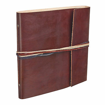 Fair Trade Handmade 3 String Chocolate Leather Photo Album Scrapbook 2nd Quality