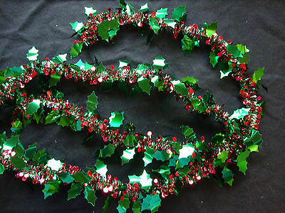 2 metre long Holly Tinsel Garland Decoration Christmas with red berries FREE P&P