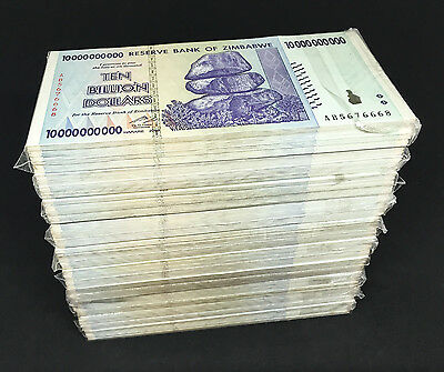 ZIMBABWE 10 Billion Dollars X 1000 PCS 2008 P-85 Trillion Series Brick XF-AU