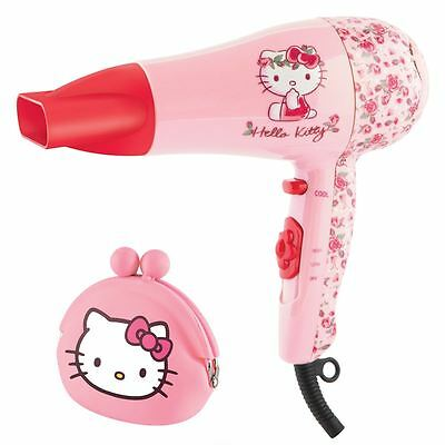 Hello Kitty Flora Design Pink Hair Dryer Styler Girls Childrens Gift Set + Purse