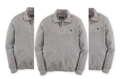 Ralph Lauren Boys' Waffle Quarter Zip Knit Sweater,Battallion,Size S(8),MSRP $55