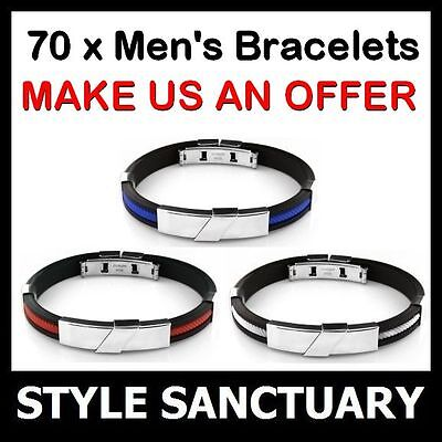 WHOLESALE 70 x Mens Stainless Steel Rubber Bracelet Wristband Job Lot Clearance