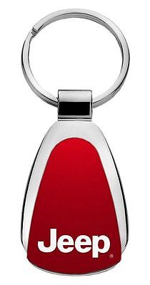 Jeep Red Teardrop Steel Key Chain KCRED.JEE Fob by Auto Mative Gold