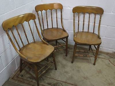 3 x DECORATIVE PINE SPINDLE BACKED DINING /HALL CHAIRS, EARLY 20TH CENTURY