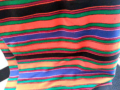 "Gorgeous  Vintage saltillo wool Blanket/Throw/Rug  87x52""bold stripes green red"