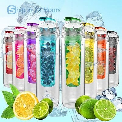 Water bottle Fruit Infuser Lemon Cup Juice Health BPA free Detox Flip Lid Christ
