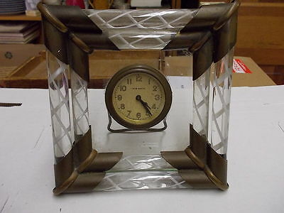 Antique New Haven Glass & Brass Desk Clock - TO RESTORE #L160