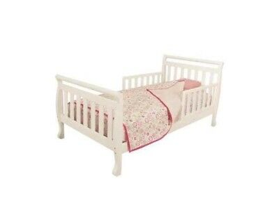 Kid's Toddler Solid Wooden Sleigh Bed Safety Room Furniture White