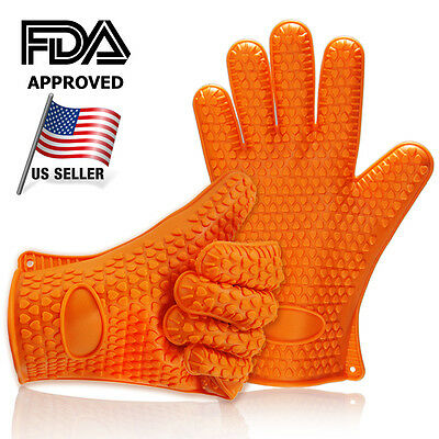 TWO Barbecue Heat Resistant Silicone Gloves Oven Kitchen Grill BBQ Cooking Mitts