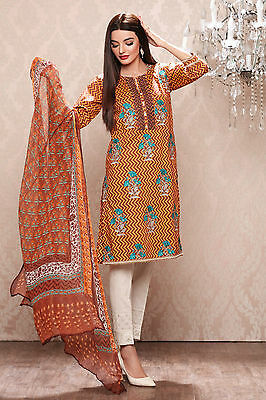 NEW KHAADI UNSTITCHED SUIT MUSTARD WINTER EMBROIDERED SHALWAR KAMEEZ FABRIC 3pcs