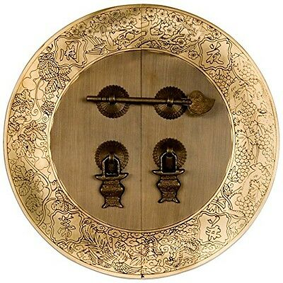 Chinese Brass Hardware Flower Vine Cabinet Face Plate 9.5''